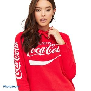 COCA-COLA red fleece hooded pullover from Ardene